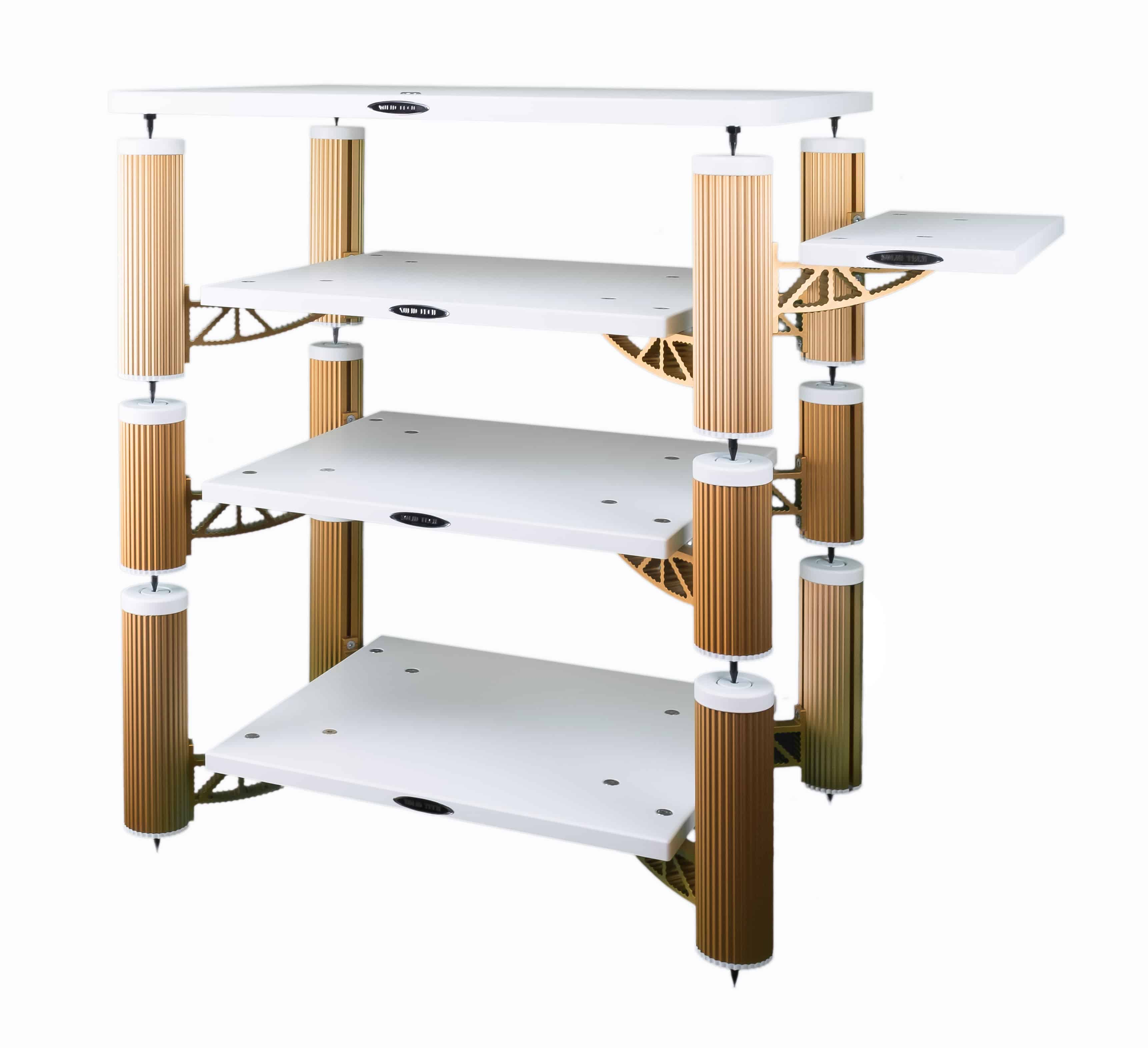 Copper anodized aluminium and white shelves Image