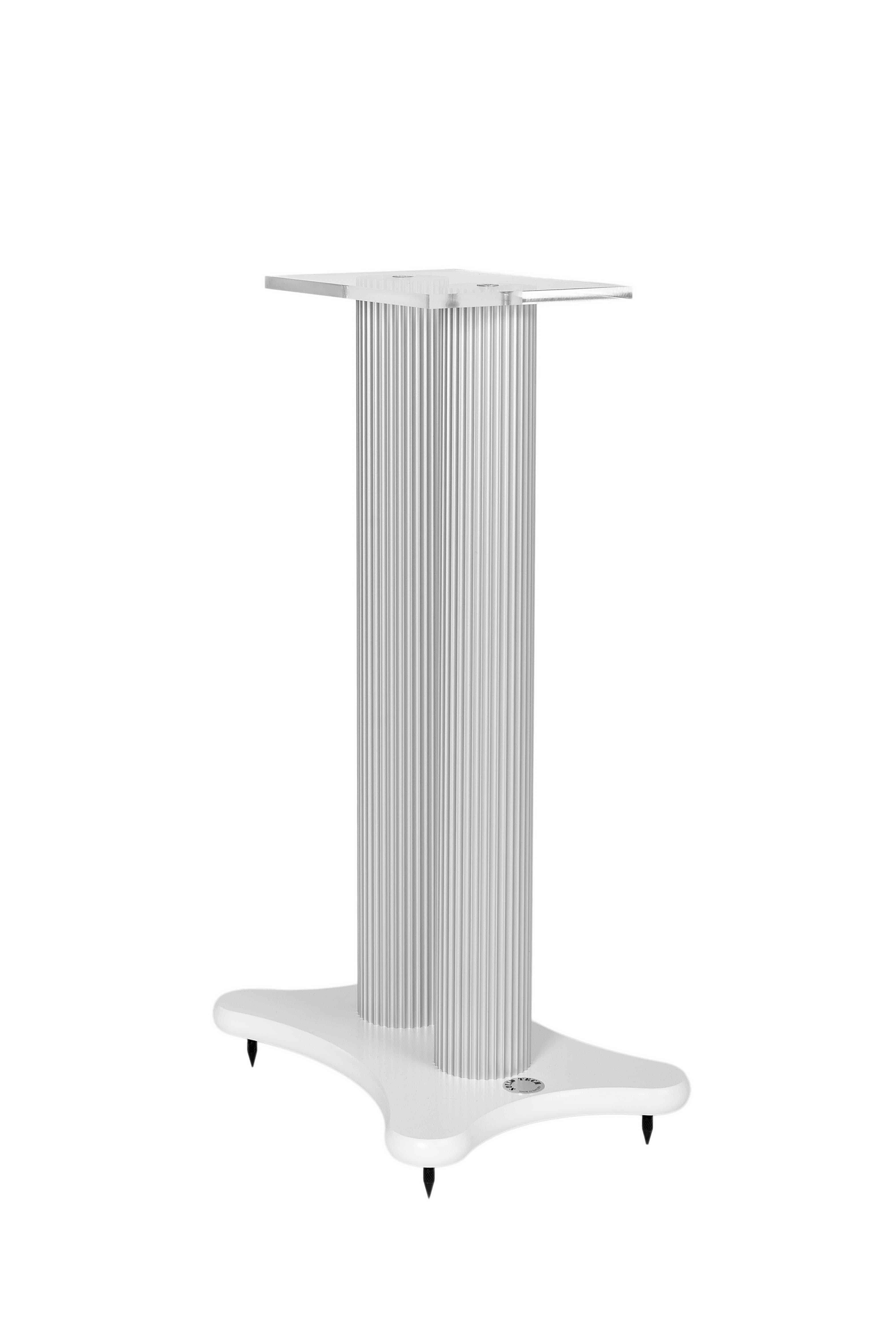 Speaker stand white foot and silver anodized pillars Image
