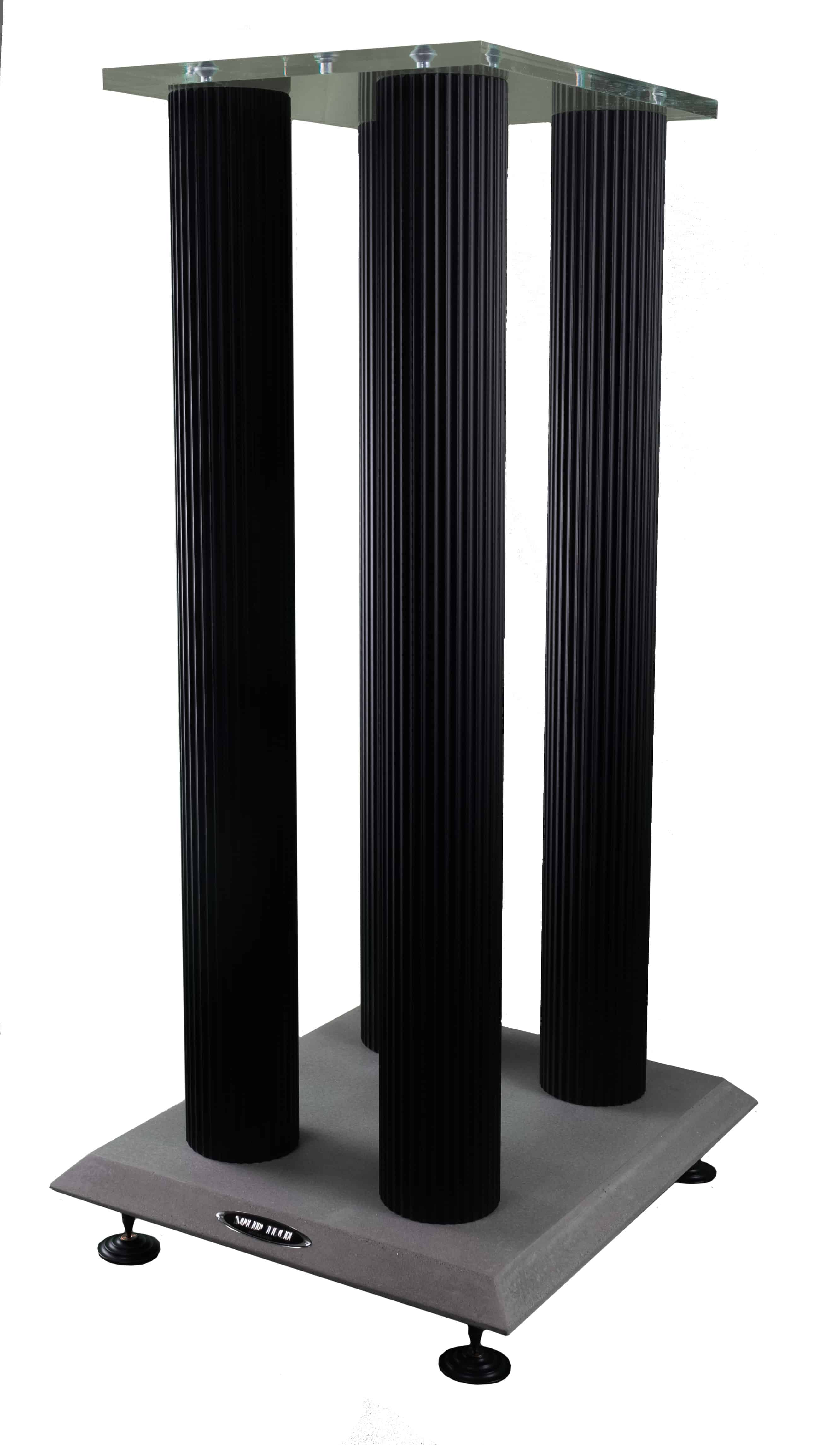 Speaker stand concrete footy and black anodized pillars Image