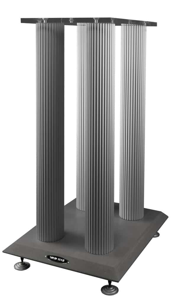 Speaker stand concrete foot and silver anodized pillars Image
