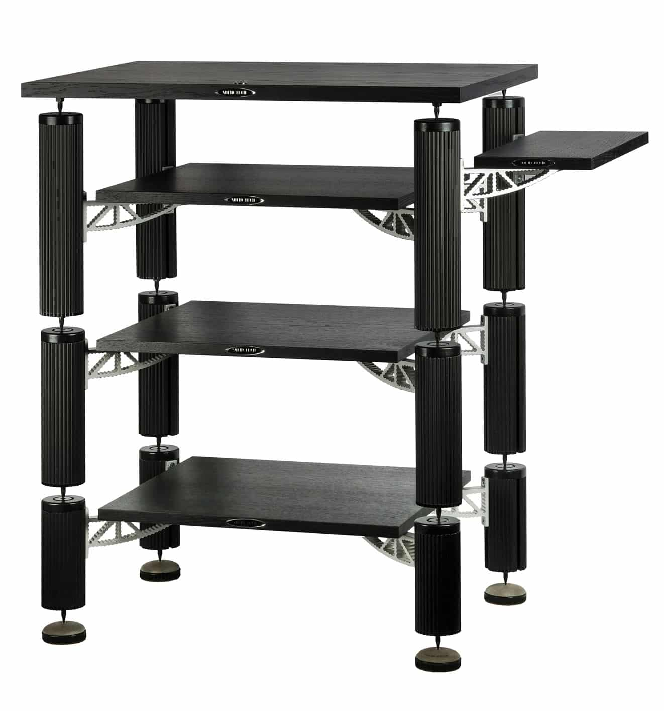 3 shelf-kit design with top shelf and sideboard in black oak Image